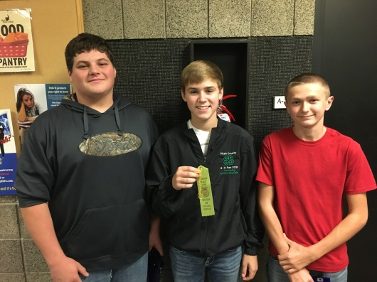 Wyatt Bantz, Jared Rouse, and Colton Gallion compete in the Greenhand Agronomy CDE.