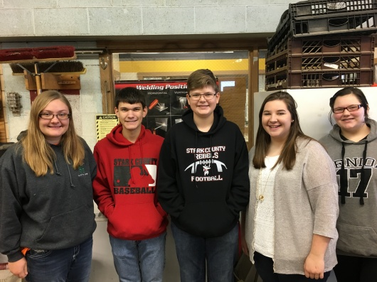 Top Five SCHS Agribusiness/Consumer Education students First Semester are (l to r) Teresa Heuermann, Mitchell Herridge, Matthew Roark, Makenzie Snyder, and Megan Brown.